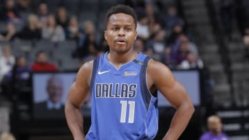 SACRAMENTO, CA - MARCH 27: Yogi Ferrell #11 of the Dallas Mavericks looks on during the game against the Sacramento Kings on March 27, 2018 at Golden 1 Center in Sacramento, California. NOTE TO USER: User expressly acknowledges and agrees that, by downloading and or using this photograph, User is consenting to the terms and conditions of the Getty Images Agreement. Mandatory Copyright Notice: Copyright 2018 NBAE (Photo by Rocky Widner/NBAE via Getty Images)