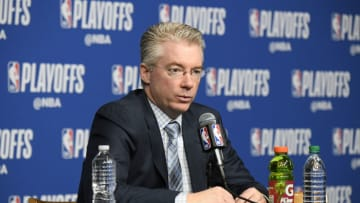 BOSTON, MA - APRIL 15: Head Coach Joe Prunty of the Milwaukee Bucks speaks with media during a press conference after the game against the Boston Celtics in Game One of Round One during the 2018 NBA Playoffs on April 15, 2018 at TD Garden in Boston, Massachusetts. NOTE TO USER: User expressly acknowledges and agrees that, by downloading and or using this photograph, user is consenting to the terms and conditions of Getty Images License Agreement. Mandatory Copyright Notice: Copyright 2018 NBAE (Photo by Brian Babineau/NBAE via Getty Images)