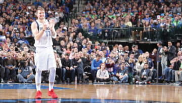 DALLAS, TX - FEBRUARY 10: Luka Doncic #77 of the Dallas Mavericks smiles during the game against the Portland Trail Blazers on February 10, 2019 at the American Airlines Center in Dallas, Texas. NOTE TO USER: User expressly acknowledges and agrees that, by downloading and or using this photograph, User is consenting to the terms and conditions of the Getty Images License Agreement. Mandatory Copyright Notice: Copyright 2019 NBAE (Photo by Glenn James/NBAE via Getty Images)