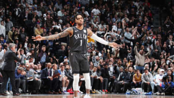 BROOKLYN, NY - APRIL 20: D'Angelo Russell #1 of the Brooklyn Nets reacts against the Philadelphia 76ers during Game Four of Round One of the 2019 NBA Playoffs on April 20, 2019 at Barclays Center in Brooklyn, New York. NOTE TO USER: User expressly acknowledges and agrees that, by downloading and or using this Photograph, user is consenting to the terms and conditions of the Getty Images License Agreement. Mandatory Copyright Notice: Copyright 2019 NBAE (Photo by Nathaniel S. Butler/NBAE via Getty Images)