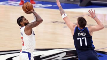 Dallas Mavericks Paul George Luka Doncic Mandatory Credit: Kevin Jairaj-USA TODAY Sports