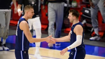 Dallas Mavericks Kristaps Porzingis Luka Doncic Mandatory Credit: Jerome Miron-USA TODAY Sports