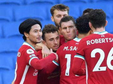 Diogo Jota, Takumi Minamino, Mohamed Salah, James Milner, Andrew Robertson