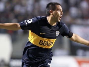 Corinthians v Boca Juniors - Copa Bridgestone Libertadores 2013 - Juan Román Riquelme celebra su gol.