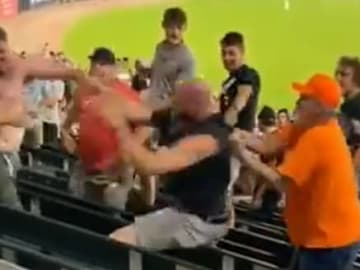 Shirtless man involved in a brawl at Guaranteed Rate Field