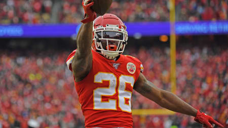 Damien Williams celebrates after scoring a touchdown in the Divisional Round against the Texans.