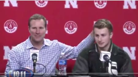 Fred Hoiberg and Jack Hoiberg after the Nebraska - Michigan State game.
