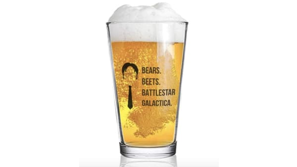 Dwight Schrute beer glass available on Amazon