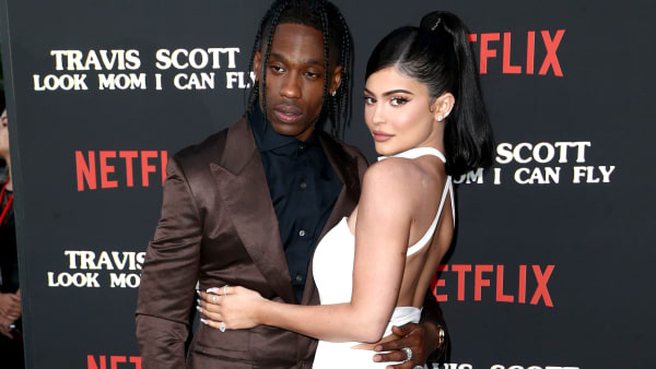 "SANTA MONICA, CALIFORNIA - AUGUST 27: Travis Scott and Kylie Jenner attend the Travis Scott: ""Look Mom I Can Fly"" Los Angeles Premiere at The Barker Hanger on August 27, 2019 in Santa Monica, California. (Photo by Tommaso Boddi/Getty Images for Netflix)"