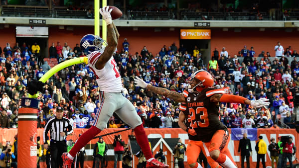 CLEVELAND, OH - NOVEMBER 27:  Odell Beckham #13 of the New York Giants can't make a catch inbounds in front of the defense of Joe Haden #23 of the Cleveland Browns during the fourth quarter at FirstEnergy Stadium on November 27, 2016 in Cleveland, Ohio. (Photo by Jason Miller/Getty Images)