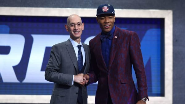 NEW YORK, NEW YORK - JUNE 20: Rui Hachimura poses with NBA Commissioner Adam Silver after being drafted with the ninth overall pick by the Washington Wizards during the 2019 NBA Draft at the Barclays Center on June 20, 2019 in the Brooklyn borough of New York City. NOTE TO USER: User expressly acknowledges and agrees that, by downloading and or using this photograph, User is consenting to the terms and conditions of the Getty Images License Agreement. (Photo by Sarah Stier/Getty Images)