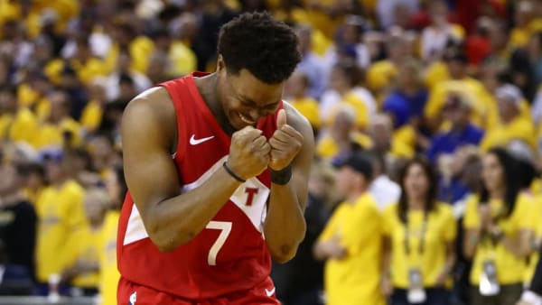 OAKLAND, CALIFORNIA - JUNE 13:  Kyle Lowry #7 of the Toronto Raptors celebrates late in the game against the Golden State Warriors during Game Six of the 2019 NBA Finals at ORACLE Arena on June 13, 2019 in Oakland, California. NOTE TO USER: User expressly acknowledges and agrees that, by downloading and or using this photograph, User is consenting to the terms and conditions of the Getty Images License Agreement. (Photo by Ezra Shaw/Getty Images)