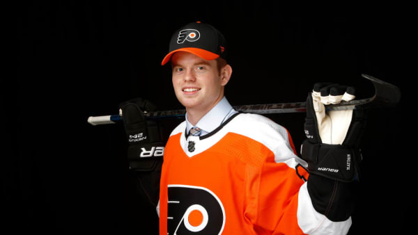 VANCOUVER, BRITISH COLUMBIA - JUNE 21: Cam York poses for a portrait after being selected fourteenth overall by the Philadelphia Flyers  during the first round of the 2019 NHL Draft at Rogers Arena on June 21, 2019 in Vancouver, Canada. (Photo by Kevin Light/Getty Images)