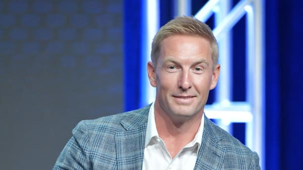 BEVERLY HILLS, CA - AUGUST 07: Joel Klatt of Fox Sports speaks during the Fox segment of the 2019 Summer TCA Press Tour at The Beverly Hilton Hotel on August 7, 2019 in Beverly Hills, California. (Photo by Amy Sussman/Getty Images)