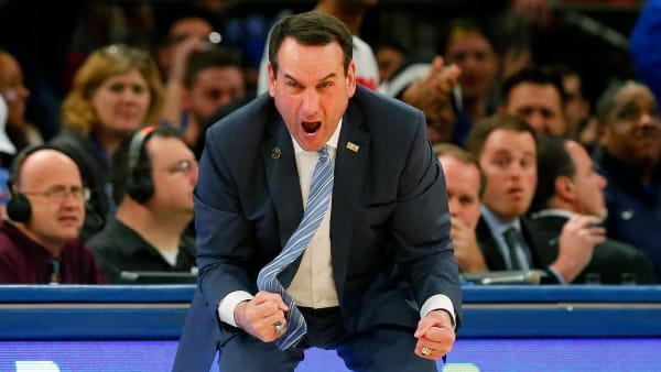 NEW YORK, NY - NOVEMBER 22:  Head coach Mike Krzyzewski of the Duke Blue Devils reacts in the second half against the Georgetown Hoyas during the 2K Classic championship game at Madison Square Garden on November 22, 2015 in New York City.  (Photo by Jim McIsaac/Getty Images)