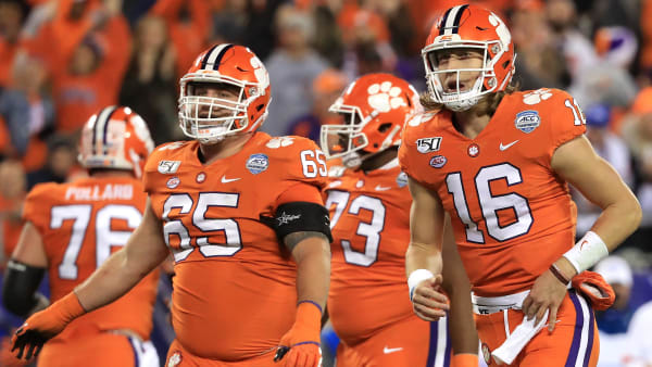Trevor Lawrence and Clemson take the field during the 2019 ACC Championship game.
