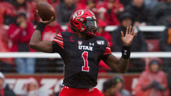 SALT LAKE CITY, UT - OCTOBER 19 : Tyler Huntley #1 of the Utah Utes throws a pass against the Arizona State Sun Devils at Rice-Eccles Stadium on October 19, 2019 in Salt Lake City, Utah. (Photo by Chris Gardner/Getty Images)