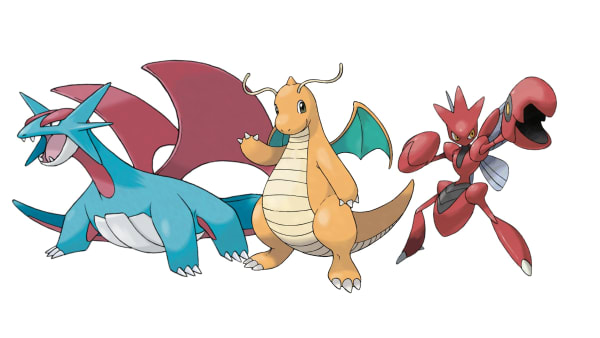 Arlo's third slot is either Salamence, Dragonite or Scizor.