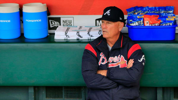 SAN FRANCISCO, CALIFORNIA - MAY 20:  Manager Brian Snitker #43 of the Atlanta Braves sits in the dugout prior to the game against the San Francisco Giants at Oracle Park on May 20, 2019 in San Francisco, California. (Photo by Daniel Shirey/Getty Images)