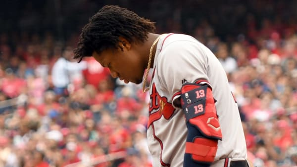 WASHINGTON, DC - SEPTEMBER 14:  Ronald Acuna Jr. #13 of the Atlanta Braves reacts after striking out in the third inning during a baseball game against the Washington Nationals at Nationals Park on September 14, 2019 in Washington, DC.  (Photo by Mitchell Layton/Getty Images)