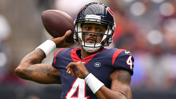 HOUSTON, TEXAS - OCTOBER 06: Deshaun Watson #4 of the Houston Texans looks to pass in the first quarter against the Atlanta Falcons at NRG Stadium on October 06, 2019 in Houston, Texas. (Photo by Mark Brown/Getty Images)