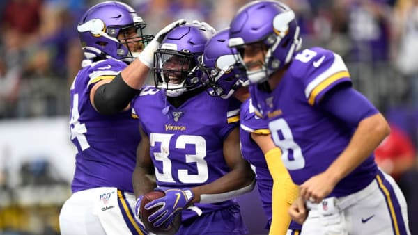 MINNEAPOLIS, MINNESOTA - SEPTEMBER 08: Running back Dalvin Cook #33 of the Minnesota Vikings and teammates celebrate a touchdown against the Atlanta Falcons in the game at U.S. Bank Stadium on September 08, 2019 in Minneapolis, Minnesota. (Photo by Hannah Foslien/Getty Images)