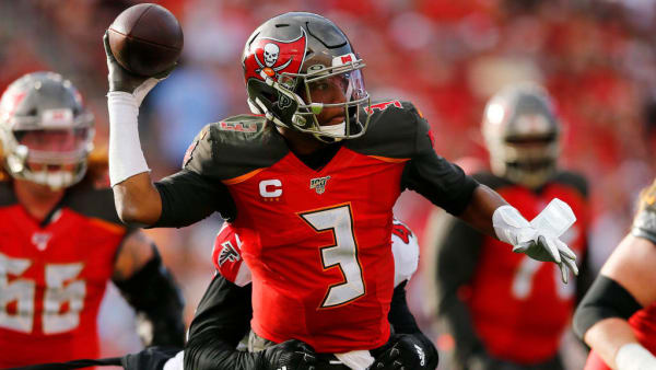 Jameis Winston throws a pass against the Falcons.