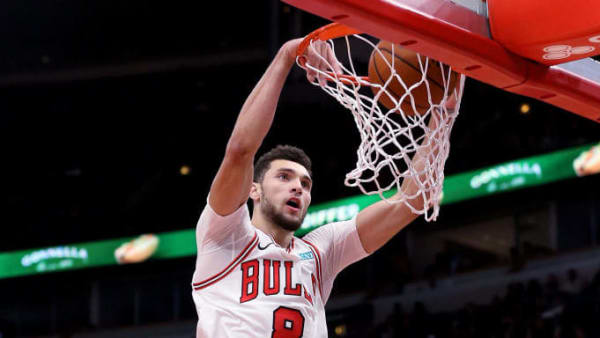 CHICAGO, ILLINOIS - OCTOBER 17: Zach LaVine #8 of the Chicago Bulls dunks the ball in the third quarter against the Atlanta Hawks during a preseason game at the United Center on October 17, 2019 in Chicago, Illinois. NOTE TO USER: User expressly acknowledges and agrees that, by downloading and/or using this photograph, user is consenting to the terms and conditions of the Getty Images License Agreement. (Photo by Dylan Buell/Getty Images)