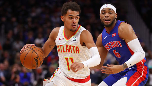 DETROIT, MICHIGAN - OCTOBER 24: Trae Young #11 of the Atlanta Hawks drives around Bruce Brown #6 of the Detroit Pistons during the first half at Little Caesars Arena on October 24, 2019 in Detroit, Michigan. NOTE TO USER: User expressly acknowledges and agrees that, by downloading and/or using this photograph, user is consenting to the terms and conditions of the Getty Images License Agreement. (Photo by Gregory Shamus/Getty Images) (Photo by Gregory Shamus/Getty Images)