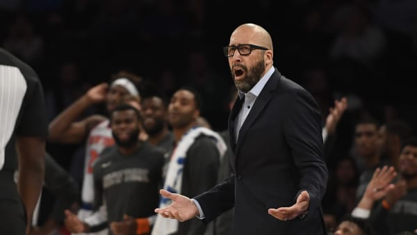 NEW YORK, NEW YORK - OCTOBER 16: Head coach David Fizdale of the New York Knicks reacts during the fourth quarter of the preseason game against the Atlanta Hawks at Madison Square Garden on October 16, 2019 in New York City. NOTE TO USER: User expressly acknowledges and agrees that, by downloading and or using this Photograph, user is consenting to the terms and conditions of the Getty Images License Agreement. Mandatory Copyright Notice: Copyright 2019 NBAE (Photo by Sarah Stier/Getty Images)
