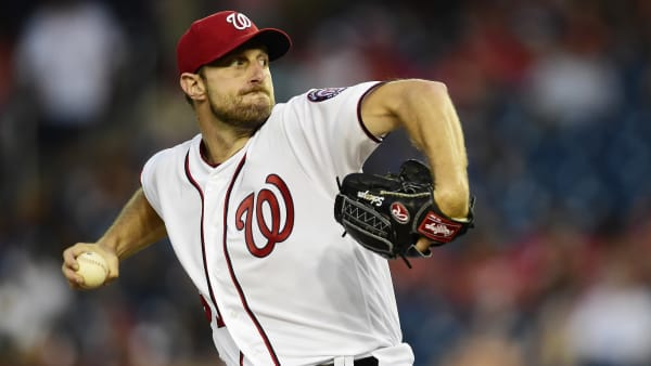 WASHINGTON, DC - AUGUST 28: Max Scherzer #31 of the Washington Nationals pitches in the second inning against the Baltimore Orioles during the interleague game at Nationals Park on August 28, 2019 in Washington, DC. (Photo by Patrick McDermott/Getty Images)