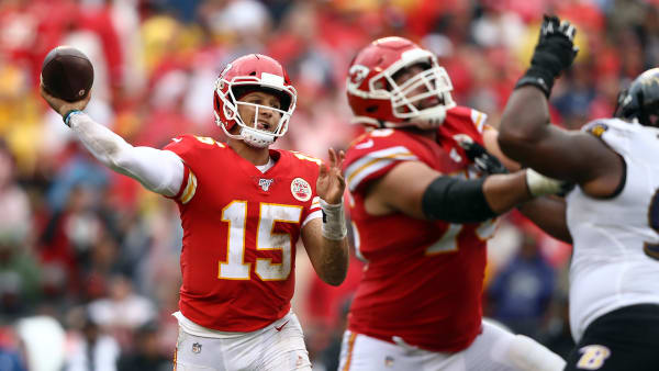 KANSAS CITY, MISSOURI - SEPTEMBER 22:  Quarterback Patrick Mahomes #15 of the Kansas City Chiefs passes during the game against the Baltimore Ravens at Arrowhead Stadium on September 22, 2019 in Kansas City, Missouri. (Photo by Jamie Squire/Getty Images)