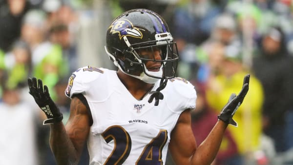SEATTLE, WASHINGTON - OCTOBER 20: Cornerback Marcus Peters #24 of the Baltimore Ravens reacts against the the Seattle Seahawks in the first quarter of the game at CenturyLink Field on October 20, 2019 in Seattle, Washington. (Photo by Abbie Parr/Getty Images)