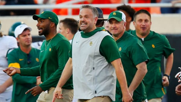 STILLWATER, OK - OCTOBER 19:  Head coach Matt Rhule of the Baylor University Bears grins after defeating the Oklahoma State Cowboys on October 19, 2019 at Boone Pickens Stadium in Stillwater, Oklahoma.  Baylor's record was 7-0 after the 45-27 road win.  (Photo by Brian Bahr/Getty Images)