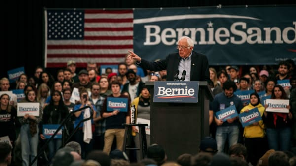 """DETROIT, MI - OCTOBER 27: Democratic presidential candidate Sen. Bernie Sanders (I-VT) speaks at a campaign rally at Cass Technical High School on October, 27, 2019 in Detroit, Michigan. Sanders was joined at the rally by Democratic Representative Rashida Tliab, who formally endorsed his campaign and praised him for """"pushing back against this really painful oppression."""" (Photo by Scott Heins/Getty Images)"""