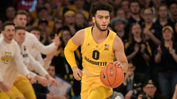 NEW YORK, NY - MARCH 15:  Markus Howard #0 of the Marquette Golden Eagles dribbles the ball against the Seton Hall Pirates in the semifinals of the Big East Basketball Tournament at Madison Square Garden on March 15, 2019 in New York City. (Photo by Porter Binks/Getty Images)