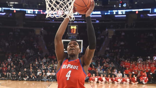 NEW YORK, NY - MARCH 13:  Paul Reed #4 of the DePaul Blue Demons drives to the basket during the Big East Men's Basketball Tournament first round game against the St. John's Red Storm at Madison Square Garden on March 13, 2019 in New York City.  (Photo by Mitchell Layton/Getty Images)