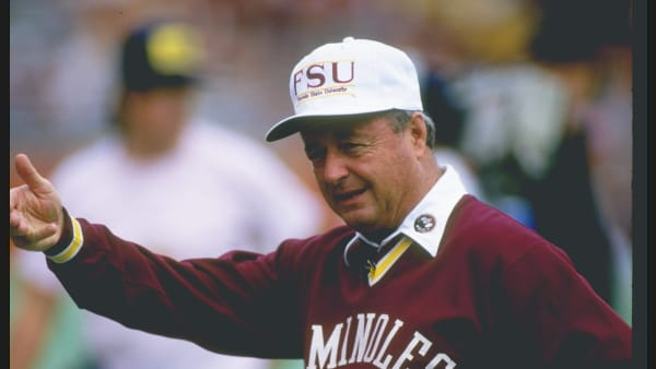 28 Nov 1987:  Coach Bobby Bowden of the Florida State Seminoles watches his players during a game against the Florida Gators at Florida Field in Gainsville, Florida.  Florida State won the game 28-14. Mandatory Credit: Allen Dean Steele  /Allsport