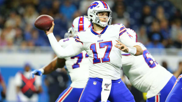 DETROIT, MI - AUGUST 23: Josh Allen #17 of the Buffalo Bills looks to throw in the first half during the preseason game against the Detroit Lions at Ford Field on August 23, 2019 in Detroit, Michigan. (Photo by Rey Del Rio/Getty Images)
