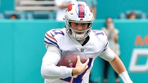 MIAMI, FL - DECEMBER 02: Josh Allen #17 of the Buffalo Bills rushes for yardage during the first quarter against the Miami Dolphins at Hard Rock Stadium on December 2, 2018 in Miami, Florida. (Photo by Mark Brown/Getty Images)