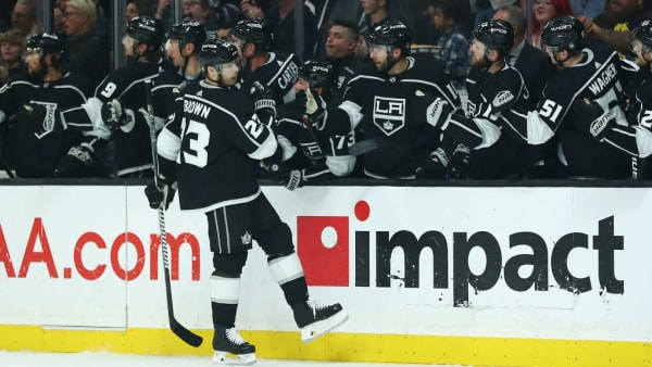 LOS ANGELES, CALIFORNIA - APRIL 01: Dustin Brown #23 of the Los Angeles Kings celebrates with the bench after scoring the second goal against the Calgary Flames during the first period at Staples Center on April 01, 2019 in Los Angeles, California. (Photo by Yong Teck Lim/Getty Images)