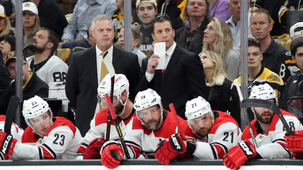 BOSTON, MASSACHUSETTS - MAY 09: Head coach Rod Brind'Amour of the Carolina Hurricanes looks on in Game One of the Eastern Conference Final against the Boston Bruins during the 2019 NHL Stanley Cup Playoffs at TD Garden on May 09, 2019 in Boston, Massachusetts. (Photo by Bruce Bennett/Getty Images)