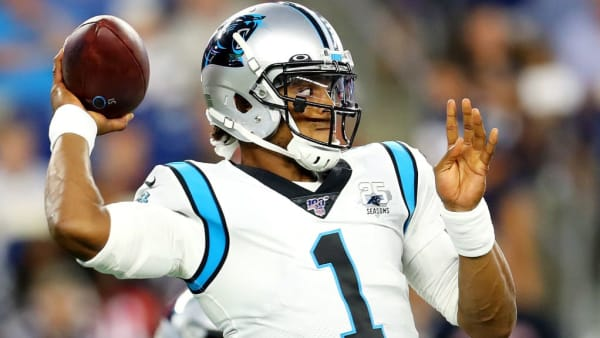 FOXBOROUGH, MASSACHUSETTS - AUGUST 22: Cam Newton #1 of the Carolina Panthers makes a pass during the preseason game between the Carolina Panthers and the New England Patriots at Gillette Stadium on August 22, 2019 in Foxborough, Massachusetts. (Photo by Maddie Meyer/Getty Images)