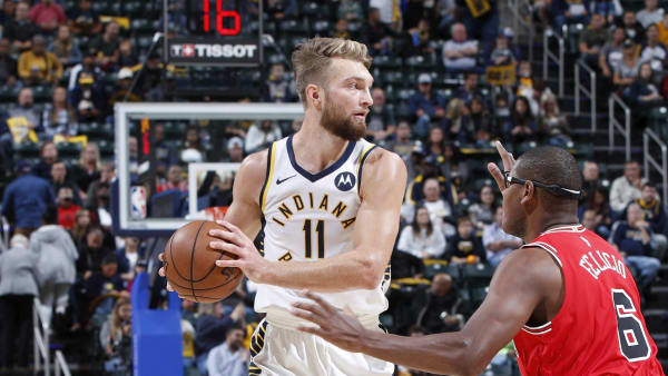 INDIANAPOLIS, IN - OCTOBER 11: Domantas Sabonis #11 of the Indiana Pacers handles the ball against the Chicago Bulls during a preseason game at Bankers Life Fieldhouse on October 11, 2019 in Indianapolis, Indiana. The Pacers defeated the Bulls 105-87. NOTE TO USER: User expressly acknowledges and agrees that, by downloading and or using this Photograph, user is consenting to the terms and conditions of the Getty Images License Agreement. (Photo by Joe Robbins/Getty Images)