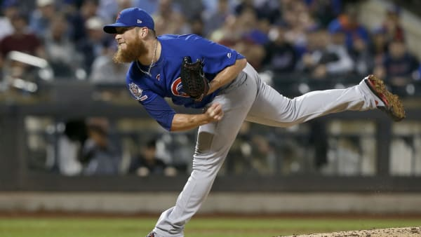 NEW YORK, NEW YORK - AUGUST 28:   Craig Kimbrel #24 of the Chicago Cubs in action against the New York Mets at Citi Field on August 28, 2019 in New York City. The Cubs defeated the Mets 10-7. (Photo by Jim McIsaac/Getty Images)