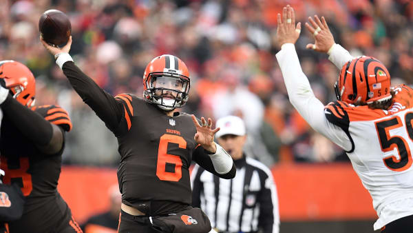 CLEVELAND, OH - DECEMBER 23:  Baker Mayfield #6 of the Cleveland Browns shows a pass in front of Nick Vigil #59 of the Cincinnati Bengals during the second half at FirstEnergy Stadium on December 23, 2018 in Cleveland, Ohio. (Photo by Jason Miller/Getty Images)