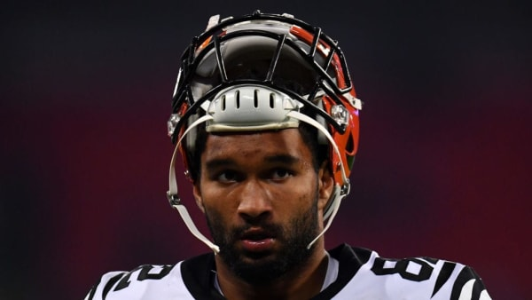 LONDON, ENGLAND - OCTOBER 27: Cethan Carter #82 of the Cincinnati Bengals during the NFL London Games series match between the Cincinnati Bengals and theLos Angeles Rams at Wembley Stadium on October 27, 2019 in London, England. (Photo by Justin Setterfield/Getty Images)