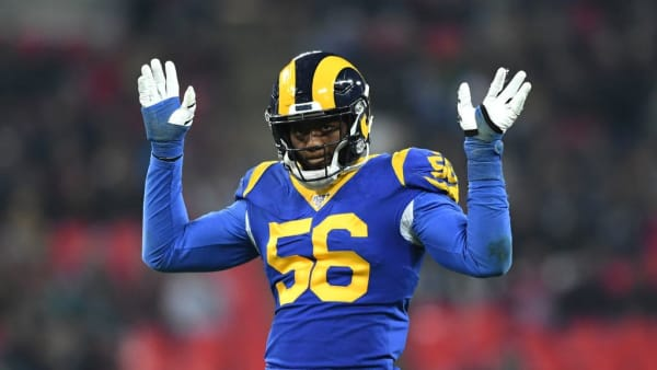 LONDON, ENGLAND - OCTOBER 27: Dante Fowler Jr of Los Angeles Rams looks on during the NFL game between Cincinnati Bengals and Los Angeles Rams at Wembley Stadium on October 27, 2019 in London, England. (Photo by Alex Davidson/Getty Images)