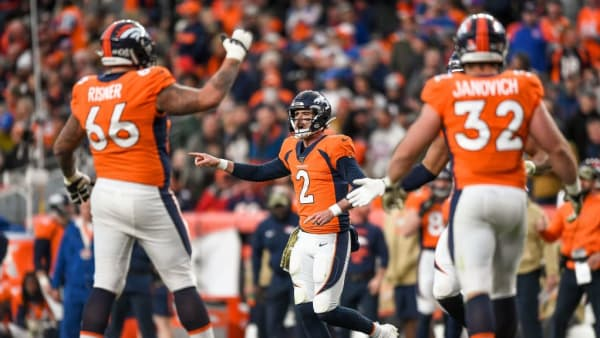 DENVER, CO - NOVEMBER 3:  Brandon Allen #2 of the Denver Broncos runs the offense against the Cleveland Browns in the third quarter of a game against the Cleveland Browns at Empower Field at Mile High on November 3, 2019 in Denver, Colorado.  (Photo by Dustin Bradford/Getty Images)