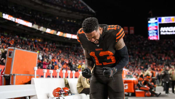 DENVER, CO - NOVEMBER 3:  Odell Beckham #13 of the Cleveland Browns shows emotion on the sideline as the Cleveland Browns trail the Denver Broncos in the fourth quarter of a game at Empower Field at Mile High on November 3, 2019 in Denver, Colorado.  (Photo by Dustin Bradford/Getty Images)